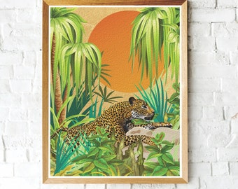 Leopard Jungle Print, Leopard Cat Art Print, Leopard Wall Decor, Leopard Art, Tropical Print, Leopard Print, Botanical Jungle Art Print