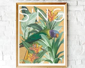 Vintage Botanical Bird Print, Colorful Bird Poster, Tropical Bird Art, Bird Lovers, Parrot Bird Art, Tropical Parrot Poster, Botanical Print