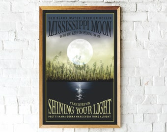Black Water, Doobie Brothers Poster, Classic Rock, Mississippi Moon,  Classic Rock Poster,  Music Gifts, Moon print, Music art, Moon art