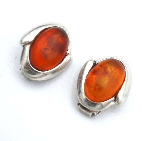 Sterling silver  Amber Earrings orange gemstone cl