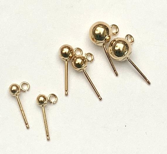 Brass 4mm BALL LOOP Ear Earrings Studs Posts Jewllery Findings Backs BULK BUY