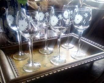 Vintage etched crystal wine glasses set of 6
