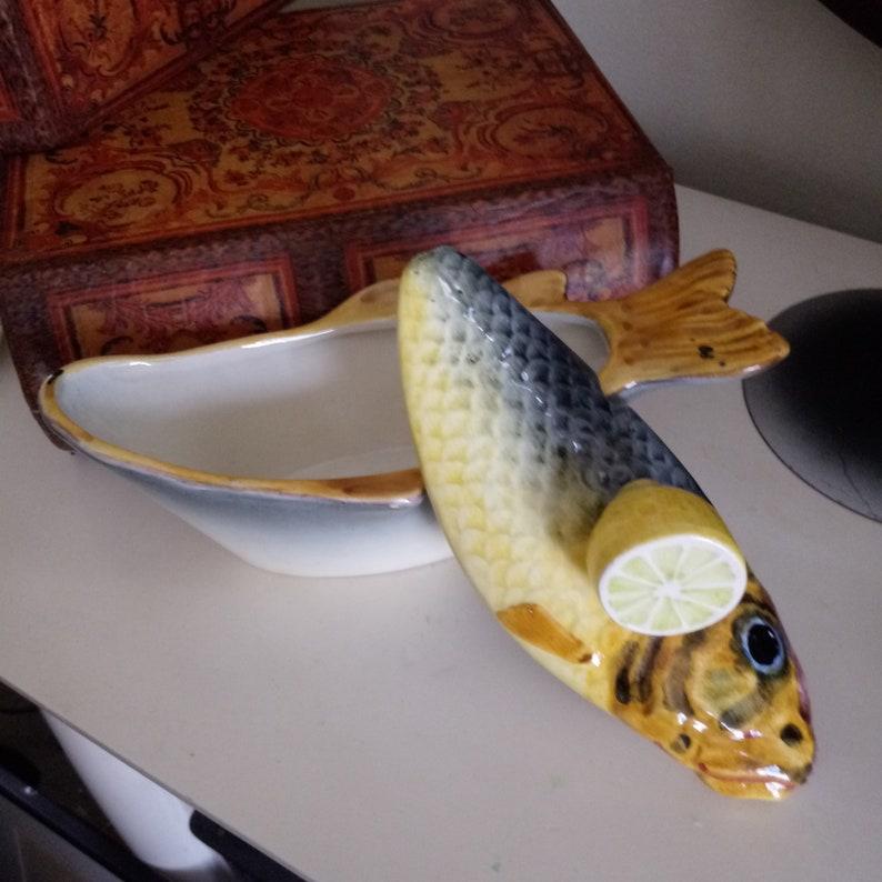 Majolica fish tureen with lemon topper