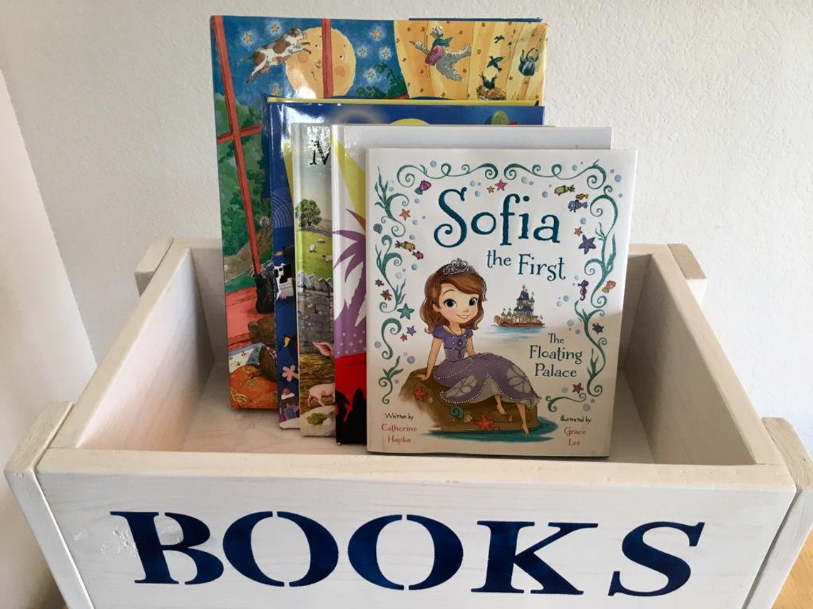 Two Level Handmade Wood Children's Nursery Book Bin / Toy Box - Personalized!