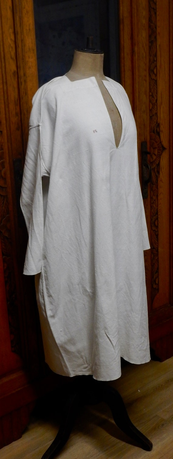 French Antique Hand Stitched Linen Night Shirt - … - image 3