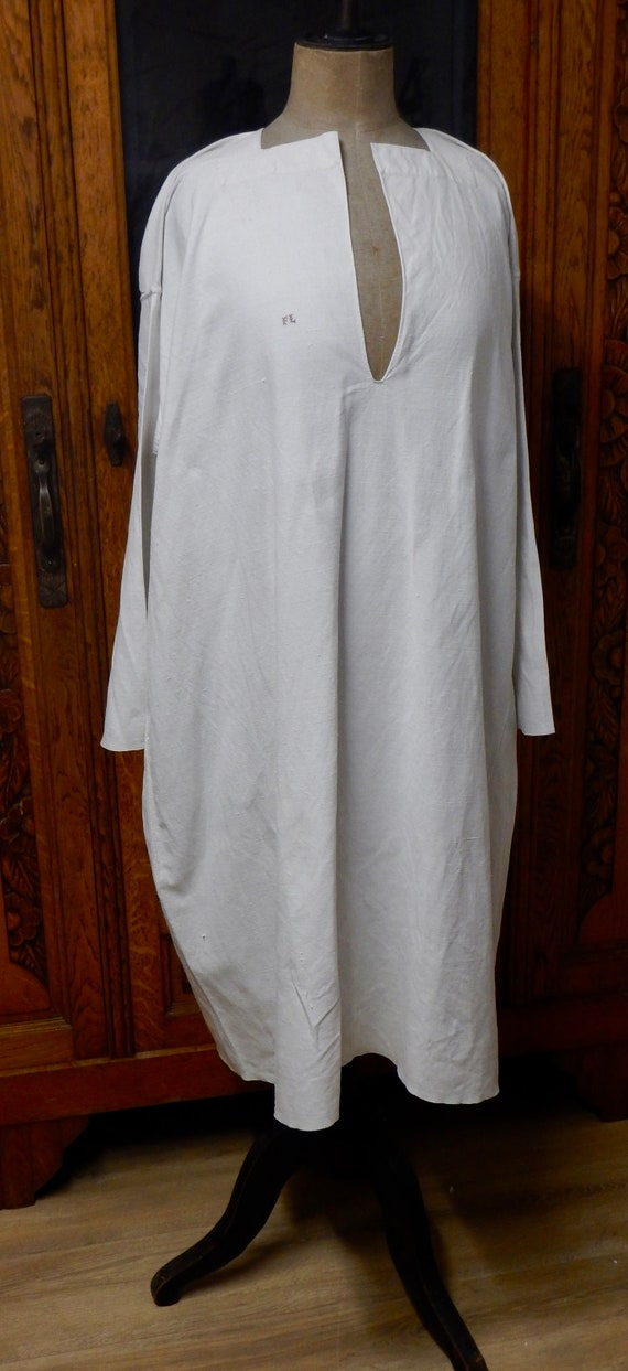 French Antique Hand Stitched Linen Night Shirt - … - image 2