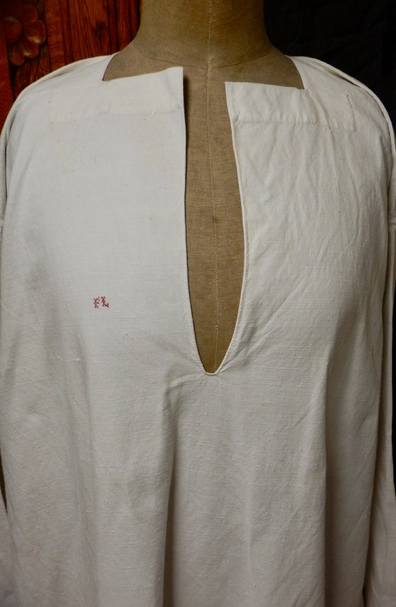 French Antique Hand Stitched Linen Night Shirt - A