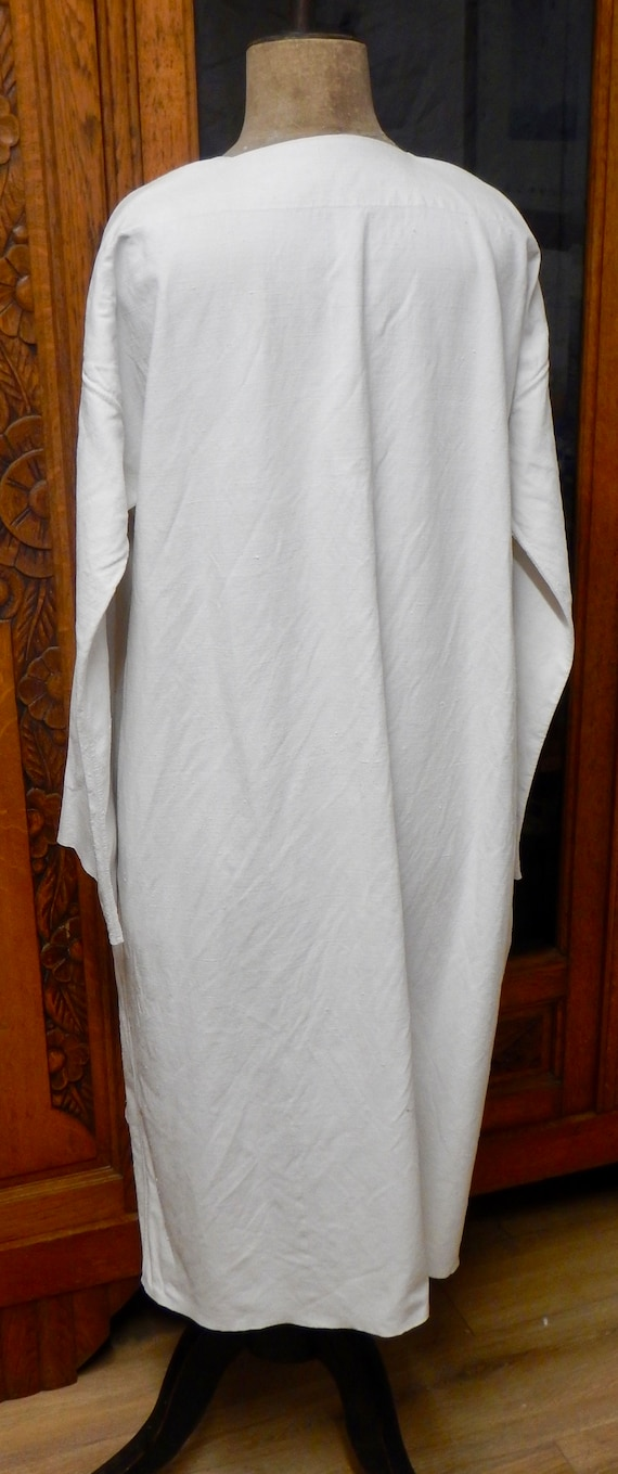 French Antique Hand Stitched Linen Night Shirt - … - image 5