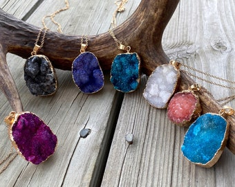 Colorful Sodalite Necklace, Azurite Necklace, Big Crystal Necklace, Chrysocolla Necklace