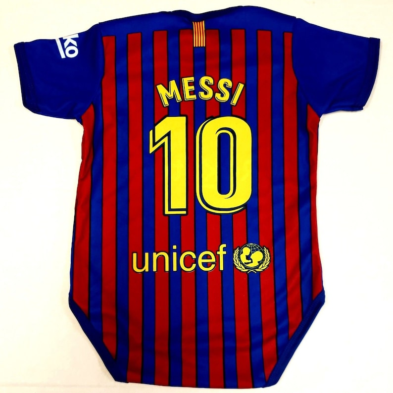 new product 80030 cc34f Baby Barcelona messi jersey rompers Fan Jersey Fast Shipping personalized