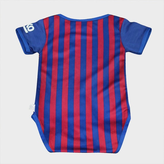 half off 61424 73aca Baby Barcelona jersey rompers Fan Jersey Fast Shipping Sizes Available