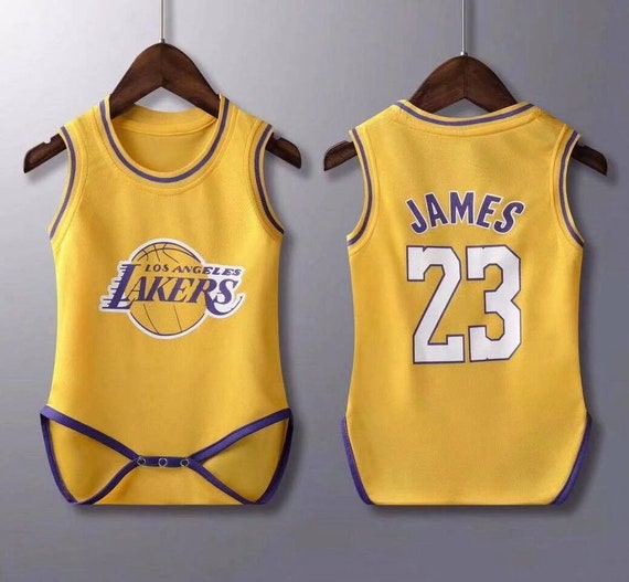 low priced be972 0ffdb baby lakers James jersey rompers Baby Jersey Fast Shipping Sizes Available