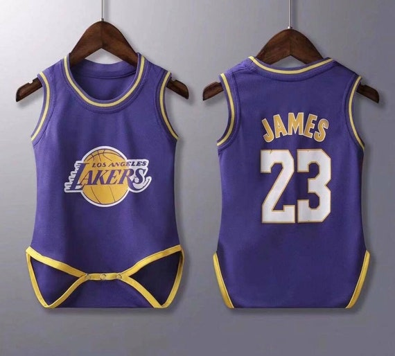 low priced 7e546 071d4 baby lakers James jersey rompers Baby Jersey Fast Shipping Sizes Available