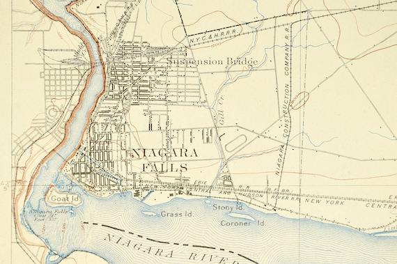 Niagara Falls Map Of Niagara Falls New York Topographic Print Antique Usgs Walmere Lasalle Cayuga Goat Island New York Central Railroad