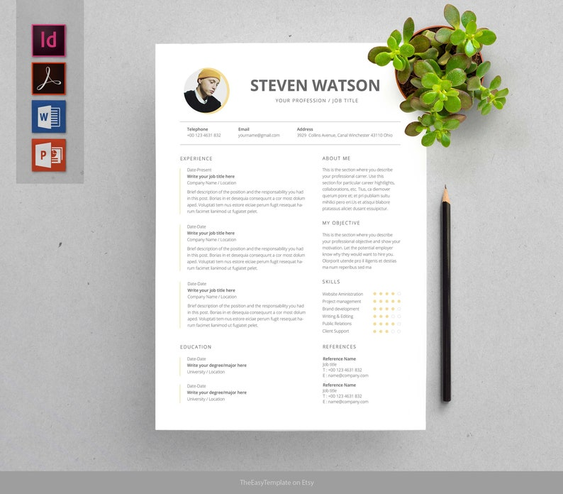 Modern Resume Cover Letter Template Professional And