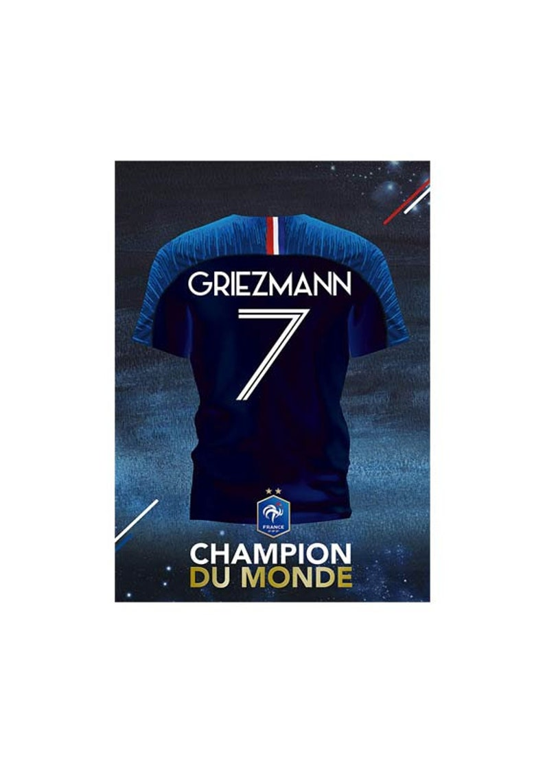 online store 5dea4 dc974 Antoine Griezmann number 7 teen bedroom vinyl sticker shirt - Team France -  2018 World Champion - with or without a frame (50x70cm)