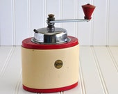 Vintage Coffee Grinder, Old Coffee Grinder, Coffee Shop Decor, Kitchen Decor, Coffee Lovers Decor, Country Kitchen, Red Yellow Cafe Decor