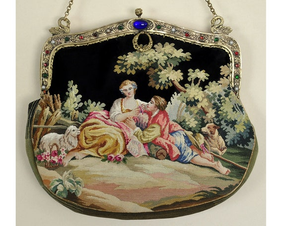 French Aubusson Tapestry Figural Purse, Jeweled Fr