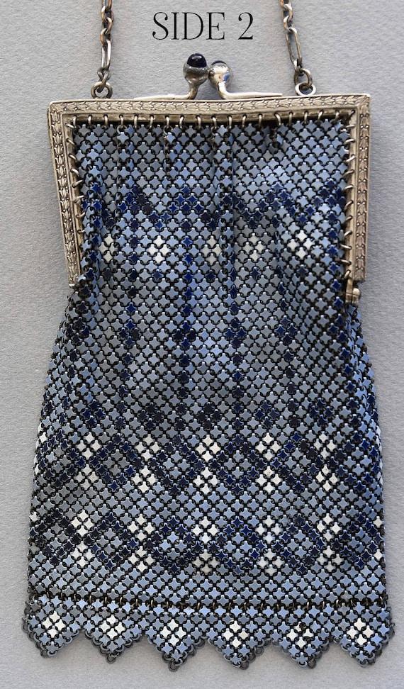 Vintage MANDALIAN MESH Purse, Blue-Grey, Dark Blu… - image 3