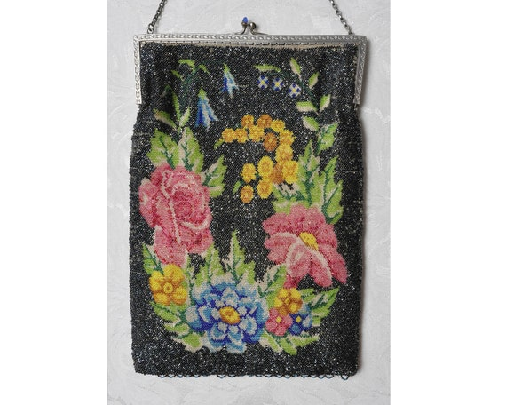 Antique Floral Microbeaded Purse, 1920s Beaded Pur