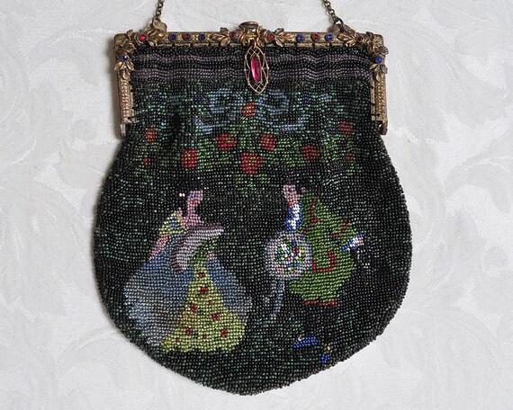 Vintage Figural Beaded Purse, Jeweled Frame Beaded