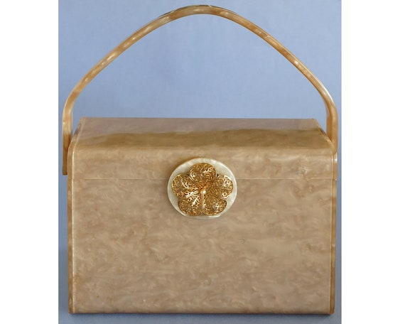 Vintage WILARDY Taupe Pearlized Lucite Box Purse,