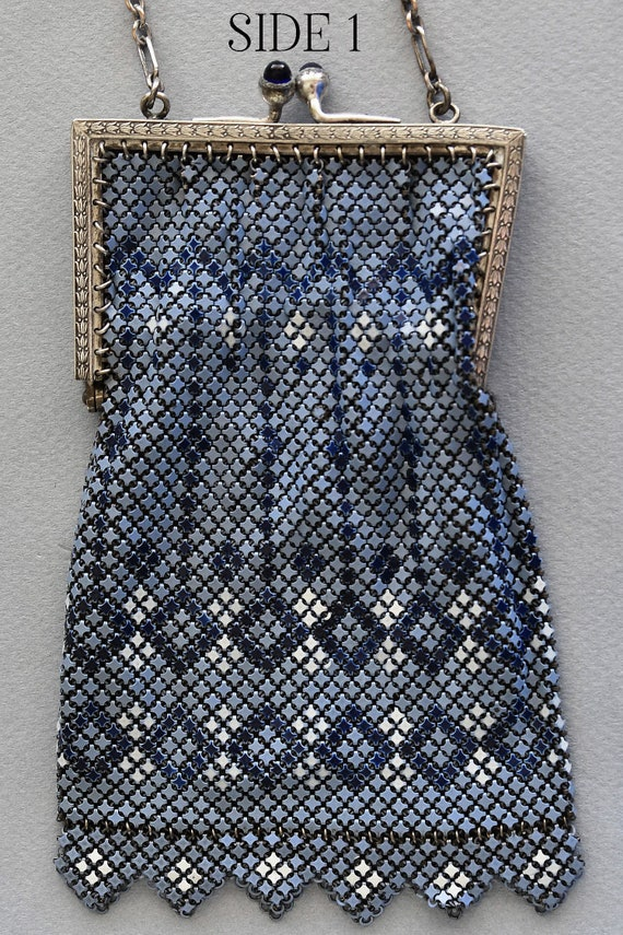 Vintage MANDALIAN MESH Purse, Blue-Grey, Dark Blu… - image 2
