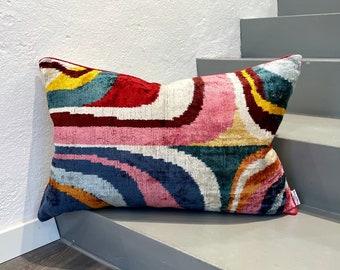 Velvet Ikat Cushion Picasso   Velvet Ikat Pillow Picasso