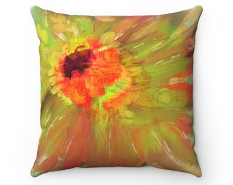 Peace Out Orange Red daisy painting Throw Pillow, Autumn Decorations, Autumn Pillow, Fall Decor, Home Decor, Gift For Her