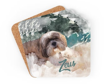 Personalized Dog Coaster Set of 4, Alcohol Ink Coasters Set Cork Back, Abstract Art Coasters, Gift Set of Coasters Pattern