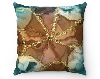 Geode art pillow, brown pillow, teal, Pattern Pillow, Gift for Her, Housewarming Gift