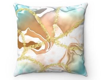 Geode art pillow, orange pillow, teal, Pattern Pillow, Gift for Her, Housewarming Gift