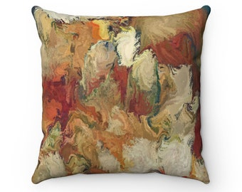 Rust Brown Leaves Throw Pillow, Autumn Decorations, Autumn Pillow, Fall Decor, Home Decor, Gift For Her