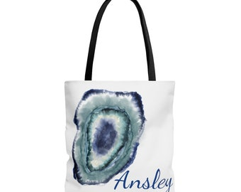 All over print tote bag, blue geode, customized agate tote
