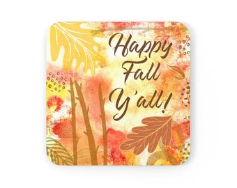 Happy Fall Corkwood Coaster Set, autumn coaster, orange decor, gift for her, housewarming gift