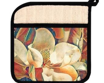 Bronze Magnolia pot holder, kitchen decor, gift for her, kitchen decor, kitchen accessories, baking decor