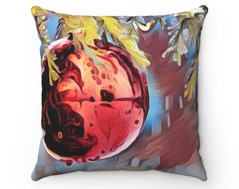 Red Abstract Ornament Throw Pillow, Autumn Decorations, Red Pillow, Christmas Decor, Home Decor, Gift For Her