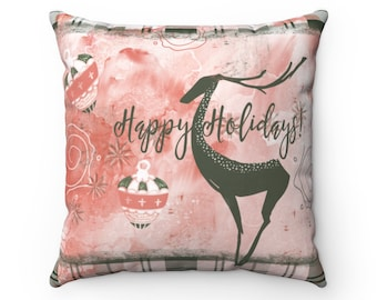 Deer Red Throw Pillow, Holiday Decorations, Holiday Pillow, Deer Decor, Home Decor, Gift For Her