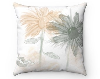 Peach and green, sage, Throw Pillow, Watercolor pillow, floral, Home Decor, Gift For Her