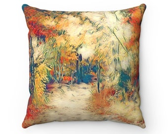 Fall Path Red Throw Pillow, Autumn Decorations, Autumn Pillow, Fall Decor, Home Decor, Gift For Her