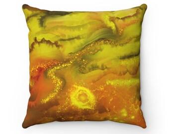 Yellow Galaxy pillow, orange pillow, Pattern Pillow, Gift for Her, Housewarming Gift