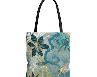 All over print tote bag, blue floral, gold line, line art