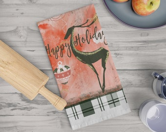 Deer Red Tea towel, Holiday Decorations, Holiday Kitchen, Deer Decor, Home Decor, Gift For Her