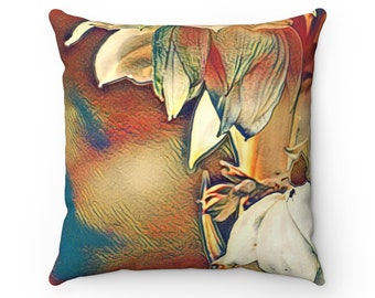 Fall Floral Red Throw Pillow, Autumn Decorations, Autumn Pillow, Fall Decor, Home Decor, Gift For Her