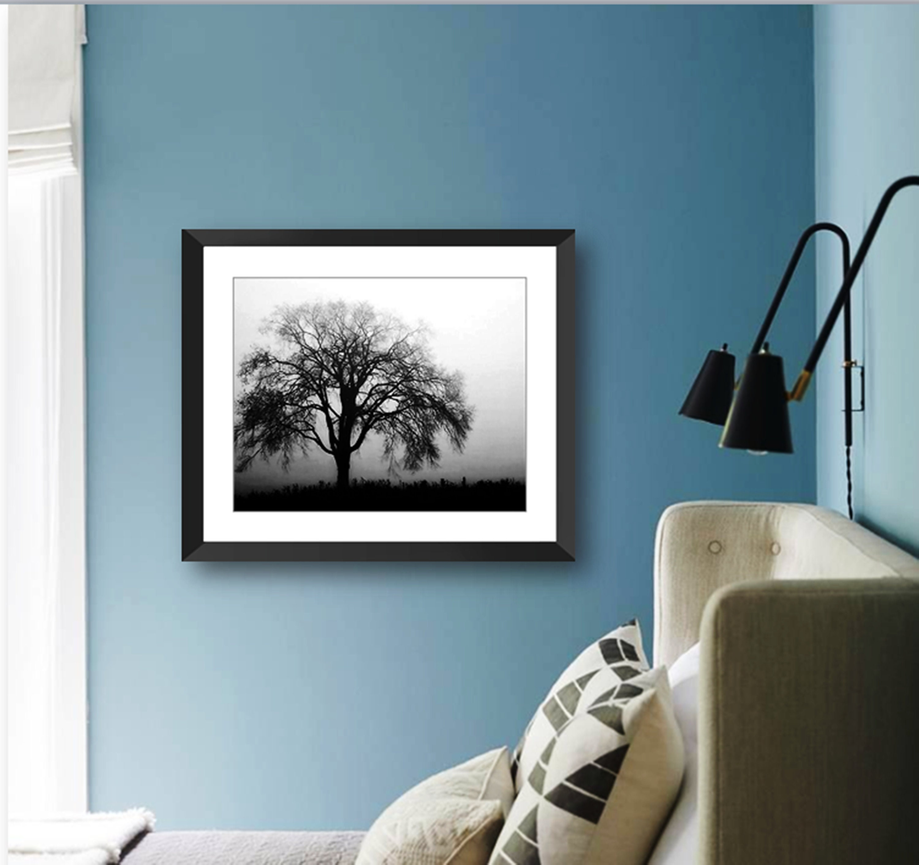 Weeping Willow Tree Foggy Morning Black And White Framed Photo