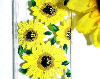 Handpainted Cell Phone Case for iPhone X.  Floral print #Sunflowers.  Soft, flexible, and great protection.