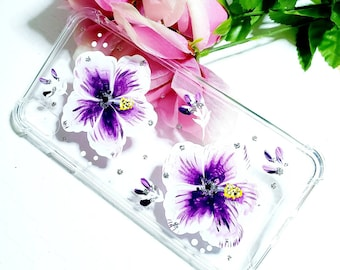 Handpainted Cell Phone Case for Xs Max iPhone.  Floral print in purple, white, and silver sparkle.  Soft, flexible, and great protection.