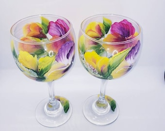 Handpainted Wine Glass with Bright Purple, Pink and Yellow Pansy Design. Set of 2