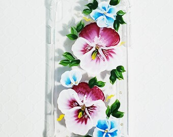 Handpainted Cell Phone Case for Xs Max iPhone.  Floral print in blue, berry, white, and gold sparkle.  Soft, flexible, and great protection.