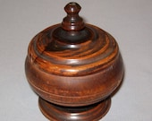 Antique Vtg Ca 1900s Edwardian Small Lignum Vitae Covered Bowl Footed With Finial
